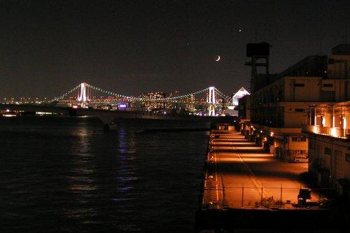 埠頭と天体ショー
